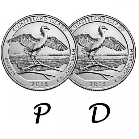 "2018 * 2 x Cuarto de Dólar (25 Cents) Estados Unidos ""Cumberland Island - Georgia"" P+D"