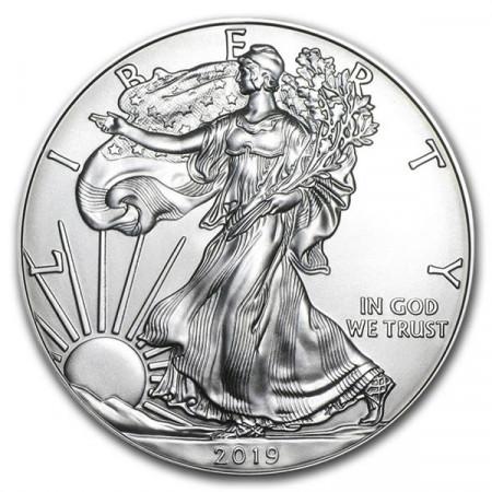 """2019 * 1 Dollar Plata 1 OZ Estados Unidos """"Liberty - Silver Eagle"""" FDC"""