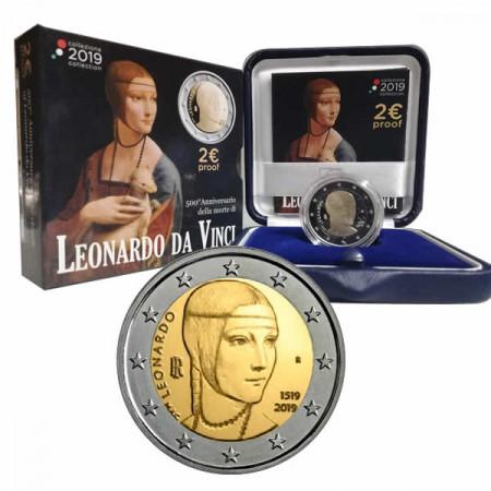 "2019 * 2 Euro ITALIA ""500º Muerte de Leonardo da Vinci"" PROOF"