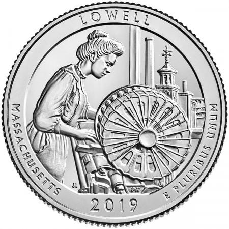 """2019 * Cuarto de Dólar (25 Cents) Estados Unidos """"Lowell Park - Massachusetts"""" UNC"""