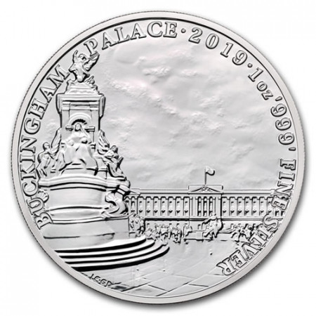 "2019 * 2 Pounds Plata 1 OZ Gran Bretaña ""Buckingham Palace"" FDC"