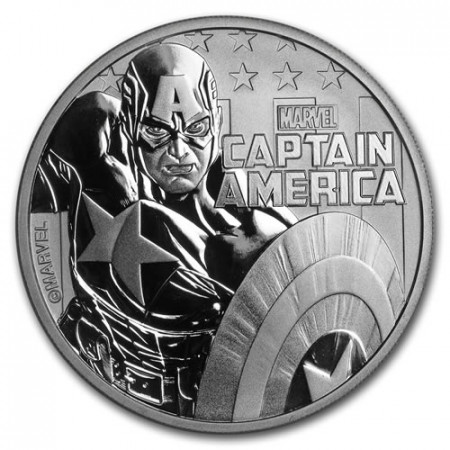 "2019 * 1 Dollar Plata 1 OZ Tuvalu ""Marvel - Captain America"" FDC"