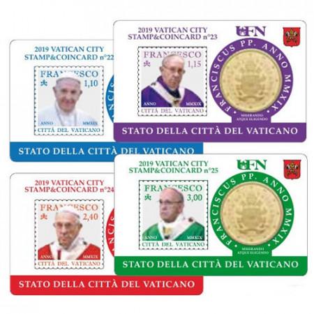 "2019 * 4 x Coincard VATICANO 50 Céntimos Euro ""Stamp and Coin"" N 22-25"