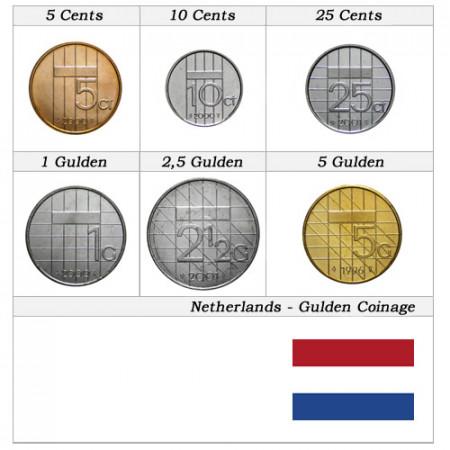 """Años Mixto * Serie 6 Monedas Países Bajos """"Gulden"""""""