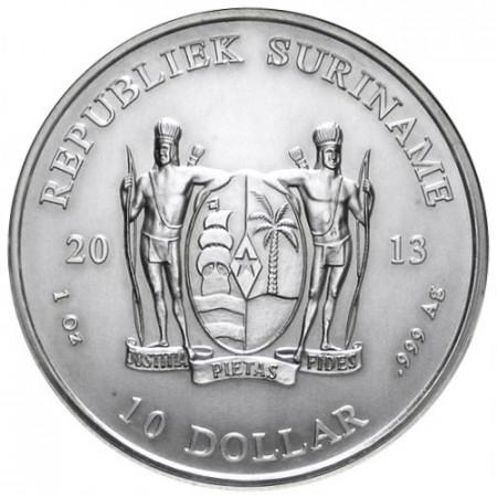 2013 * 10 dólars 1 OZ Surinam