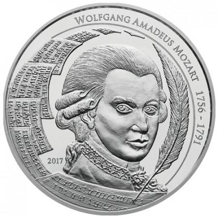 """2017 * 5 Dollars Plata 1 OZ Palaos """"Wolfgang A Mozart"""" FDC"""