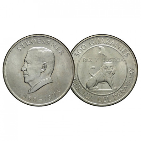 "1968 * 300 Guaranies Plata Paraguay ""4° Mandato del Presidente Stroessner"" (KM 29) SC"