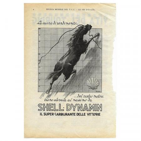 """1933 * Anuncio Original Gasolina SHELL Super Carburante """"Dynamin"""" Blanco/Negro"""