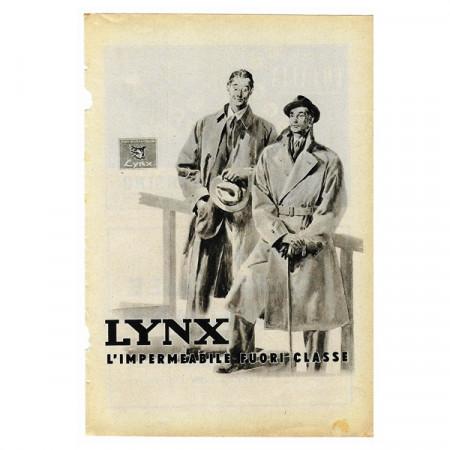"""1942 * Anuncio Original Impermeable LYNX """"Fuori Classe"""" Blanco/Negro"""