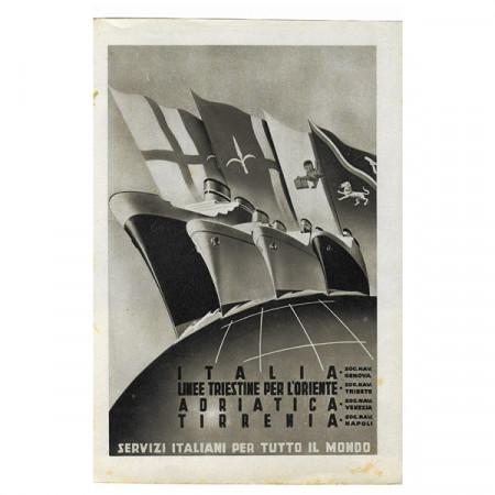 "1942 * Anuncio Original Transporte ""Linee Triestine per Oriente - Segunda Guerra Mundial"" Blanco/Negro"