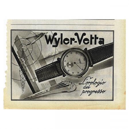 "1942 * Anuncio Original Reloj WYLER-VETTA ""Orologio del Progresso"" Blanco/Negro"