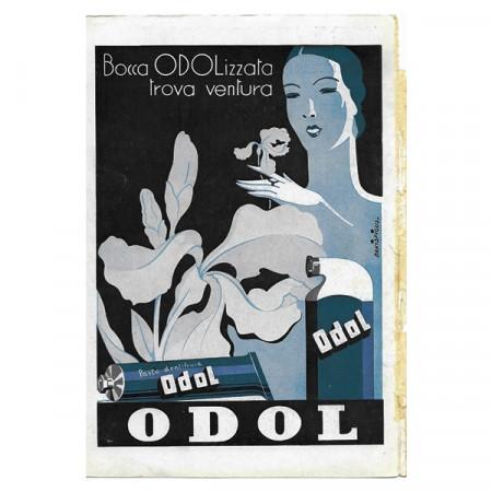 """1941 * Anuncio Original Pasta Dentífrica ODOL """"Bocca ODOLizzata - Bakisfigus"""" Color"""