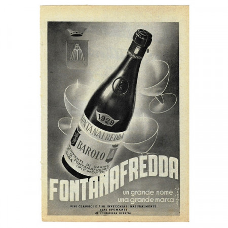 "1943 * Anuncio Original Vino ""FONTANAFREDDA - Barolo"" Blanco/Negro"