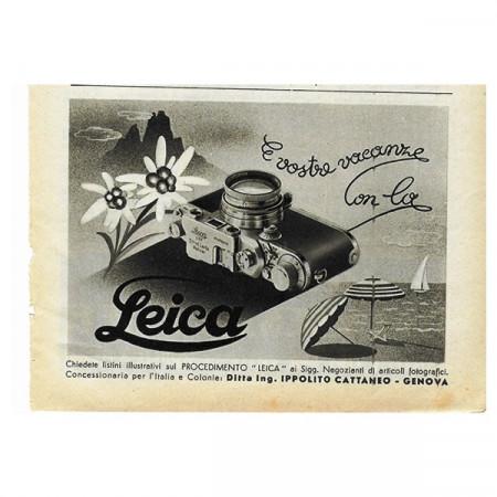 """1943 * Anuncio Original Fotografía """"Leica - Vacanze"""" Blanco/Negro"""
