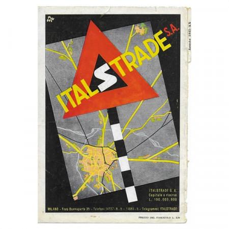 """1943 * Anuncio Original Infraestructuras """"ITALSTRADE - Milano"""" Color"""