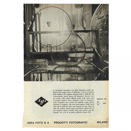 """1942 * Anuncio Original Fotografía """"AGFA Foto - Alone"""" Blanco/Negro"""