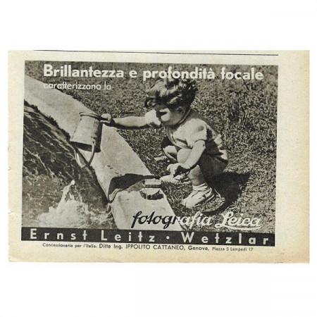 """1942 * Anuncio Original Fotografía """"Leica - Brillantezza"""" Blanco/Negro"""