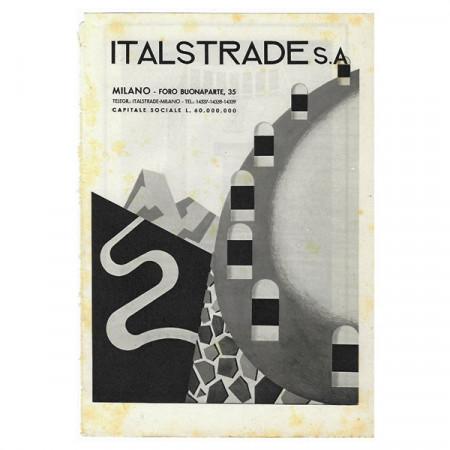 """1942 * Anuncio Original Infraestructuras """"ITALSTRADE"""" Blanco/Negro"""