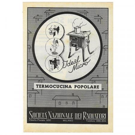 """1942 * Anuncio Original Estufa """"IDEAL - Termocucina Popolare"""" Blanco/Negro"""