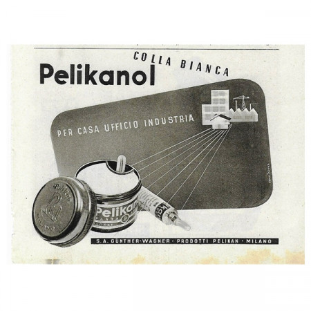 """1942 * Anuncio Original Papelería """"PELIKANOL - Colla Bianca"""" Blanco/Negro"""