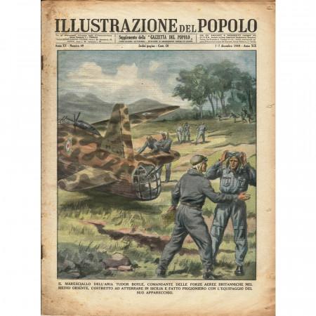 """1940 * Revista Histórica Original """"Illustrazione del Popolo (N°49) - Maresciallo Tudor Boyle Prigioniero In Sicilia"""""""