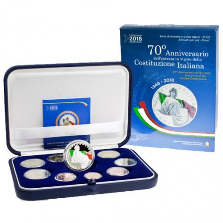 """2018 * ITALIA Cartera Oficial EuroSet 10 Monedas """"70º Constitución Italiana"""" PROOF"""