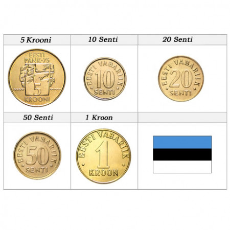 Años Mixto * Serie 5 monedas Estonia