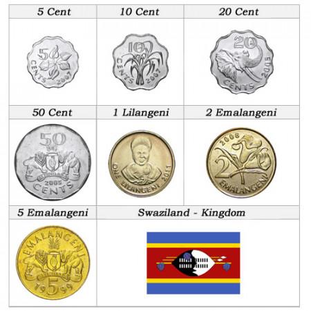 Años Mixto * set 7 monedas Suazilandia