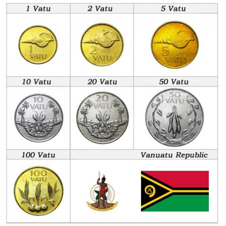 Años Mixto * Serie 7 monedas Vanuatu