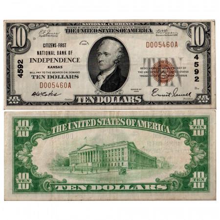 1929 * Billete Estados Unidos 10 dollars MBC Kansas