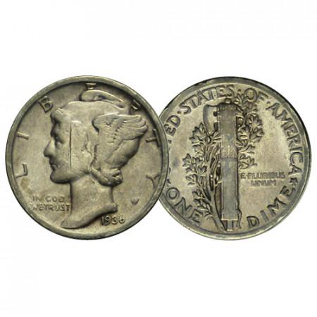 """1936 P * 10 Cents (Dime) Dollar Plata Estados Unidos """"Mercury Dime"""" (KM 140) cMBC"""