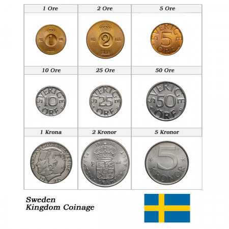 Años Mixto * Serie 9 Monedas Suecia