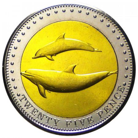 2008 * 25 pence Tristán de Acuña Delfines