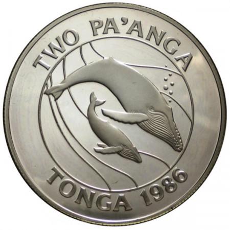 """1986 * 2 Pa'anga Plata Tonga """"25° Fundación WWF"""" (KM 121) PROOF"""