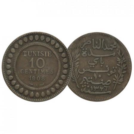 "AH 1326 (1908) A * 10 Centimes Túnez ""Muhammad V"" (KM 236) MBC"