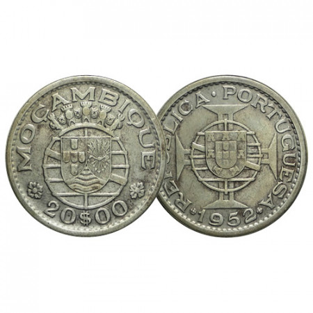 "1952 * 20 Escudos Plata Mozambique ""Shield Maltese Cross"" (KM 80) MBC+"