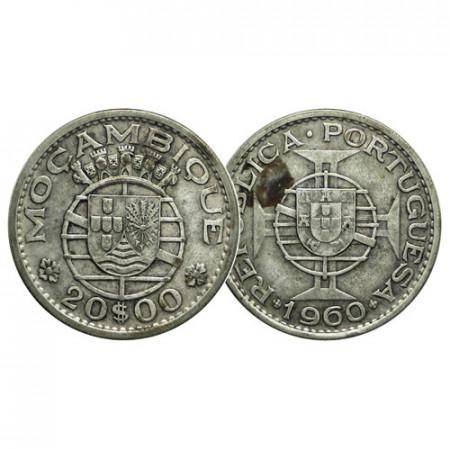 """1960 * 20 Escudos Plata Mozambique """"Shield Maltese Cross"""" (KM 80) MBC+"""