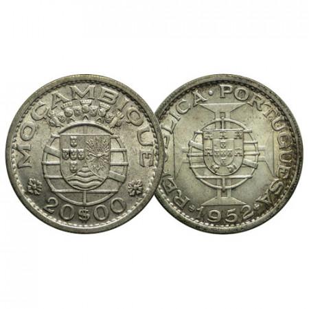 """1952 * 20 Escudos Plata Mozambique """"Shield Maltese Cross"""" (KM 80) SC"""