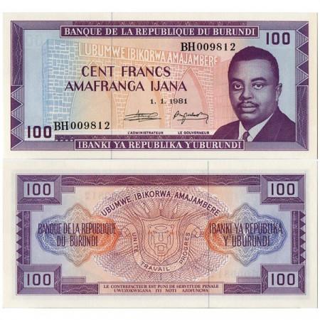 """1981 * Billete Burundi 100 Francs """"Prince Rwagasore"""" (p29b) SC"""