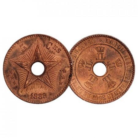 "1888 * 5 Centimes Congo Belga ""Leopoldo II - Free State"" (KM 3) SC"