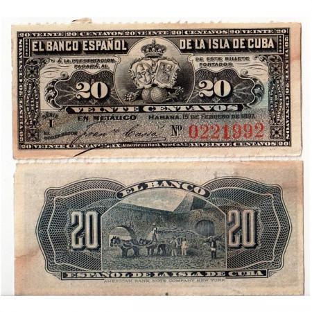 "1897 * Billete Cuba 20 Centavos ""Ox Cart"" (p53) EBC+"