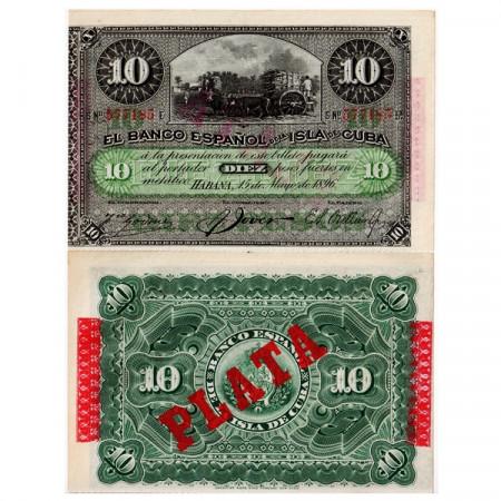 """1896 * Billete Cuba 10 Pesos """"Ox Cart - Plata"""" (p49d) EBC+"""