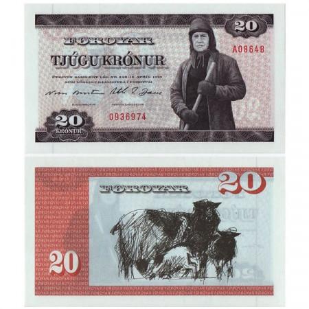 """L1949 (1986) * Billete Islas Feroe - Faroe Islands 20 Kronur """"Man w Ice Pick"""" (p19a) SC"""