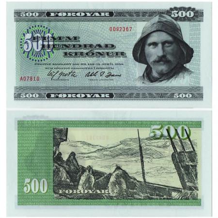 """L1949 (1978) * Billete Islas Feroe - Faroe Islands 500 Kronur """"Fisherman"""" (p22a) cSC"""