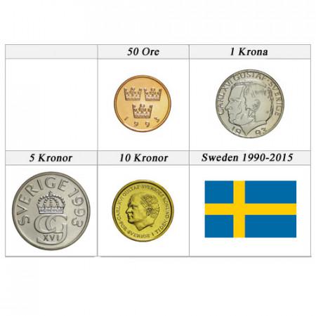 "Mix * Serie 4 Monedas Suecia ""Kronor - 90' Design"" UNC"