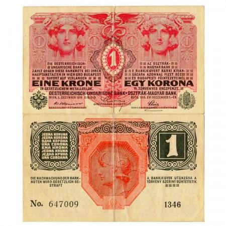 """1916 * Billete Austria 1 Krone """"Helmeted Warrior"""" (p20) BC"""