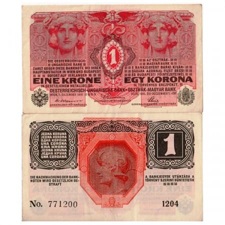 """1916 * Billete Austria 1 Krone """"Helmeted Warrior"""" (p20) MBC"""