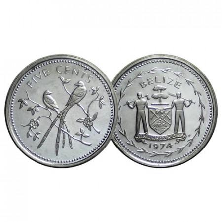 "1974 * 5 Cents Belice ""Fork-Tailed Flycatchers"" (KM 39a) PROOF"