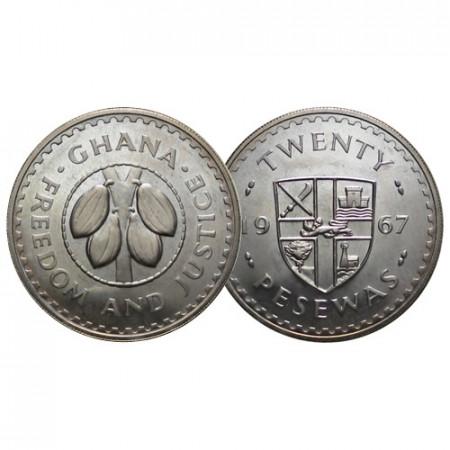 "1967 * 20 Pesewas Ghana ""Cocoa Beans"" (KM 17) UNC"