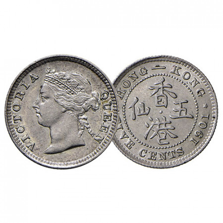 "1901 * 5 Cents Plata Hong Kong ""Reina Victoria"" (KM 5) SC"